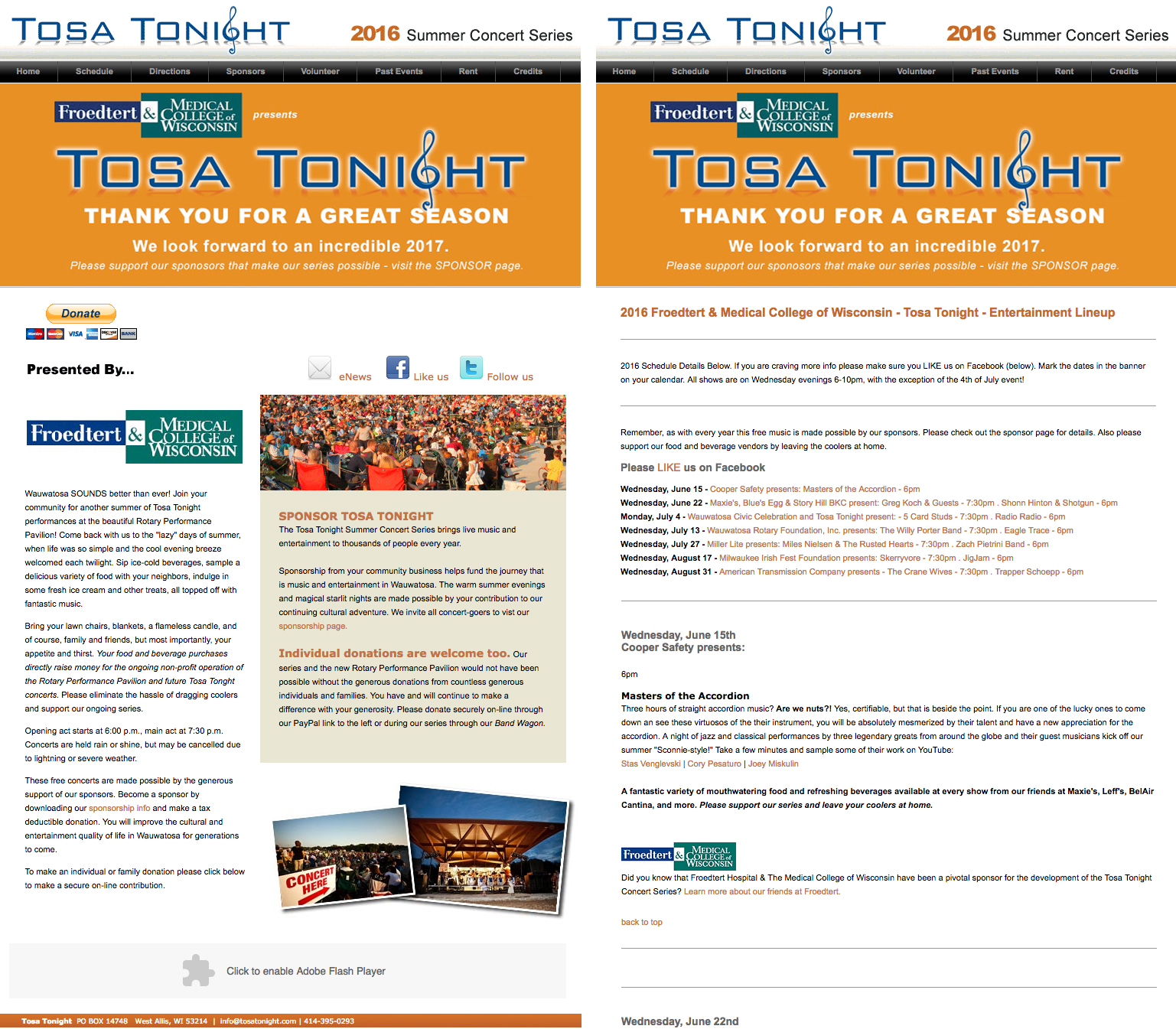 Tosa Tonight Old Website